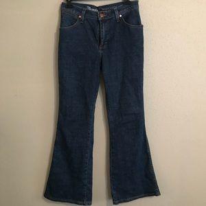 ModCloth x Wrangler Bellbottom Flared Indigo Jeans